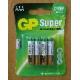 Батарейка GP SUPER 24А/тип ААА (упак 4шт) (10/80)