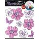 Наклейки для интерьера Цветы стразы розовые 7706 RDA