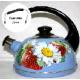 Чайник 2,5л (подвиж.ручка)-синий туман/клубника с ромашкой (декор-  нерж.сталь)ТМ04/25/08/05 (4)