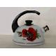 Чайник 3,5 л.(конс.ручка)-белый/маковый цветок (декор- нерж.сталь) Т04/35/03/04 (Ростов) (4)